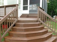 Charming Front Porch Deck : Cool Front Porch Design With Walnut Wood Deck Designed With Staircase And Wooden Railing Combine With Glass Window And White Siding Wall Front Porch Steps, Deck Steps, Wood Steps, Front Porch Design, Outdoor Steps, Concrete Steps, Front Porches, Exterior Stair Railing, Deck Stair Railing