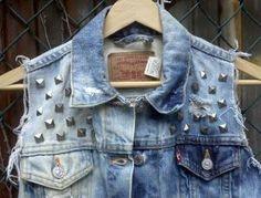 jean studded vest