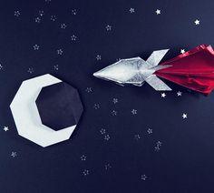 Origami rocket v2 and a crescent moon too  #origami #rocket #moon #paper #space #paperkawaii #paperfolding #spaceship #stars #origamimoon #origamispaceship