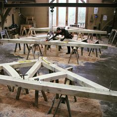 Three trusses in the Castle Ring workshop #timberframe