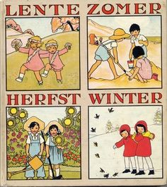 Seasons by Dutch illustrator by Rie Cramer / vintage illustration Round Robin, Vintage Calendar, Sukabumi, Vintage Children's Books, Vintage Toys, Vintage Art, Dutch Artists, Children's Literature, Children's Book Illustration