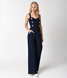 afd606f96ec Voodoo Vixen 1970s Style Navy Blue Nautical Maggie-May Jumpsuit. Nautical  Jumpsuits1970s StylePlaysuit ...