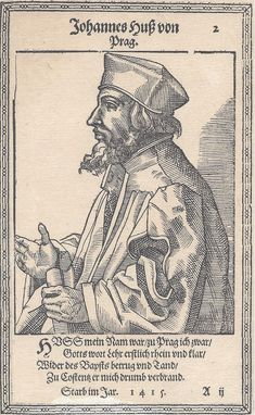 John Hus (Jan Hus, - priest, philosopher, early Christian reformer and Master at Charles University in Prague. After John Wycliffe, Hus is considered the first Church reformer. Martin Luther, Jan Hus, Papal Bull, Reformed Theology, Ap World History, Medieval, Early Christian, Cartoon Faces, World Religions