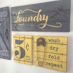 This is a SET OF THREE Laundry Room decor signs - a laundry sign with string art JUTE hanger, a string art JUTE cloths pen with wash, dry, fold, repeat saying, and 5 cent per load sign with JUTE rope accents for a true rustic effect! This 3 piece laundry set is perfect for the laundry room where a little fun is needed! And, you can choose from 5 color schemes as shown in photos 1-5 above!  ★ The laundry sign with strung hanger is on 24 x 8.5 wood canvas ★ The strung cloths pen with saying is…