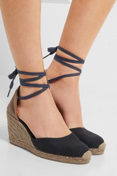 Wedge heel measures approximately 90mm/ 3.5 inches Midnight-blue and sand canvas Ties at ankle