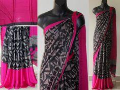 Printed satin crepe saree with pink border