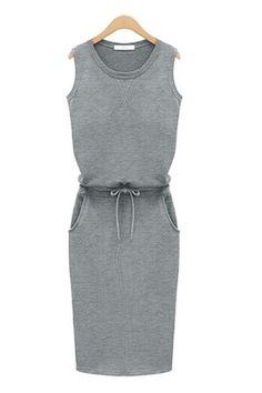 Cute gray casual chic dress. You can make it work with pumps and accessories!
