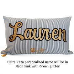 Sorority Glitter Ticking Stripe Cushion - Delta Zeta