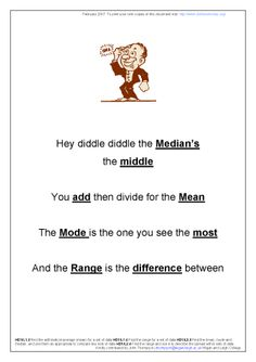 Here's a poem to help students remember measures of central tendency (mean, median and mode).