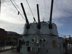 The main guns of the HMS Belfast in London, England...