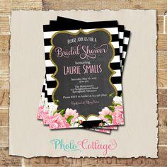 Bridal Shower Invitation, Glitter Gold Invitation, Peony Invitations, Bridal Shower Invites, Black & White Invitation, BS110