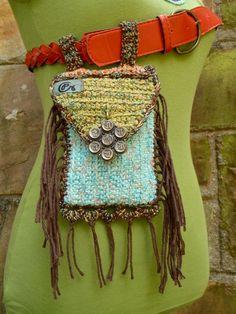 fringed purse HIP bag belt BAG  fannypack  buddhist MANTRA hippie accessory crochet fairy belt bag hand made via Etsy