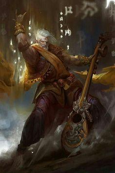 Human Bard - Pathfinder PFRPG DND D&D d20 fantasy