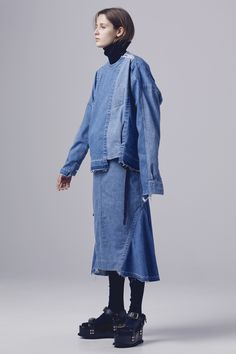 See the complete Sacai Pre-Fall 2016 collection love the piecing of differ denim together