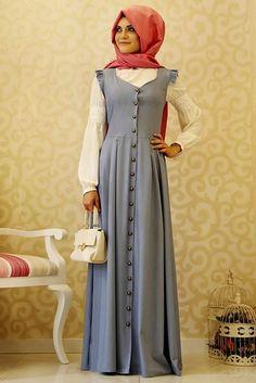Gamze Polat Mavi Kot Vintage Tesettür Elbise