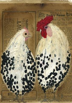 Spangled Pair 11 x 2008 mixed media - Leah McCloskey Chicken Painting, Chicken Art, Rooster Art, Chickens And Roosters, Arte Popular, Art Plastique, Bird Art, Art Techniques, Mixed Media Art