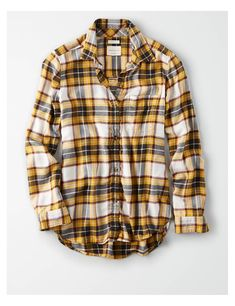 522194d0e AE Ahhmazingly Soft Boyfriend Plaid Button-Down Shirt. Yellow JeansYellow FlannelOversized  FlannelMens ...