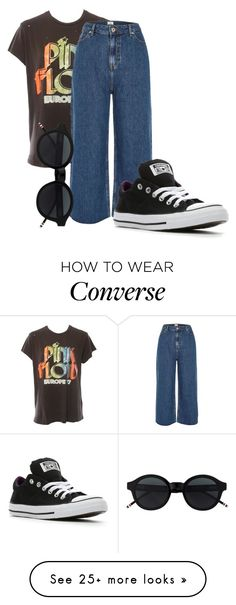 """Retro"" by dorabutina on Polyvore featuring MadeWorn, River Island, Converse, denimtrend and widelegjeans"