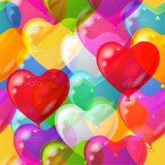Balloons Hearts Background Seamless