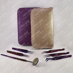 purple plasma color coated Eyelash Extension Tweezer Kit (All In One)
