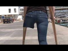 One-legged amputee lady crutching 02 - YouTube