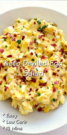 10 Minute Keto Deviled Egg Salad - Keto Recipes - Ideas of Keto Recipes - 10 Minute Keto Deviled Egg Salad Tasty Keto egg salad that taste just like deviled eggs! Serve for lunch as a holiday side dish! Works well for meal prepping too! Keto Egg Salad, Deviled Egg Salad, Keto Deviled Eggs, Healthy Egg Salad, Keto Chicken Salad, Chicken Recipes, Baked Pesto Chicken, Easy Egg Salad, Avocado Egg Salad