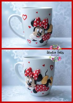 mug with polymer clay decor minnie mouse от StudioFolisHandmad Polymer Clay Figures, Polymer Clay Crafts, Unicorn Cupcakes Toppers, Clay Cup, Sculpture Clay, Bottle Art, Paper Flowers, Minnie Mouse, Creations