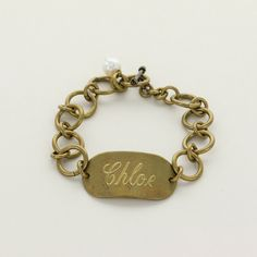 Vintage Gold Rectangle ID Bracelet  Initial Outfitters