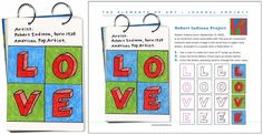 Robert Indiana inspired LOVE letters project. PDF Tutorial available. #artprojectsforkids #valentine