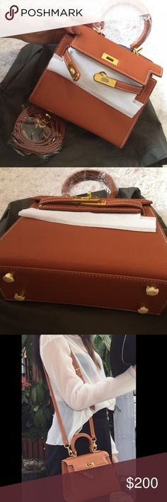 175$ Brand new mini bag Will accept 175$ on 🅿️ay 🅿️al free shipping  Cream brown leather Kelly looking bag super luxuries and fancy  *comes with key 🔑 and lock 🔐 *comes with strap you can add and take off for different occasions 🌹  I bought it from Paris made in France but it's still brand new never used and it needs new loving owner 👌   if you any questions please ask me  SEND OFFER DONT ASK FOR LOWEST 👌 Hermes Bags Mini Bags