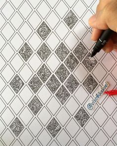 135 diamonds in progres... #drawing #zentangles #doodles