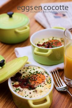 Eggs en Cocotte baked with cream and bacon