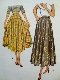 Vintage McCall 8272 Sewing Pattern, 1950s Skirt Pattern, Circle Skirt, 1950s Sewing Pattern, Waist 24, Tea Length Full Skirt, Vintage Sewing                                                                                                                                                                                 More