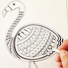 The beginnings of my flamingo! @janefosterdesigns #janefoster #janefosterillustration #flamingo