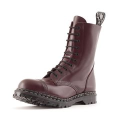Gripfast 10 Eyelet Steel Toe Boot in Oxblood