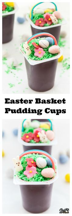 Easter Basket Pudding Cups are a fun & easy treat to make this Easter