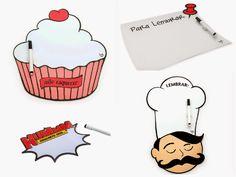 Separamos alguns modelos geniais pra você começar agora mesmo! Tem o Ímã Cupcake que vai deixar a cozinha a maior fofuuura! O Chef chegou pra colocar ordem em todos os seus compromissos! Sem contar que também tem o Ímã Hummm e o Pra Lembrar!  Esquecer das suas tarefas? Nunca mais!