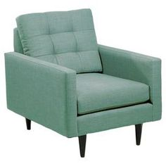 Wood-framed accent chair with a tufted back cushion and peg legs.