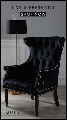 A luxurious velvet designed occasional armchair featuring tufted buttoning and silver studding. Diy Bedroom Decor, Living Room Decor, Home Decor, Home Furniture, Furniture Design, Black And White Living Room, Luxury Interior Design, My New Room, Living Room Designs