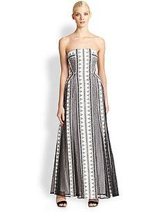 BCBGMAXAZRIA Kia Lace Overlay Strapless Gown
