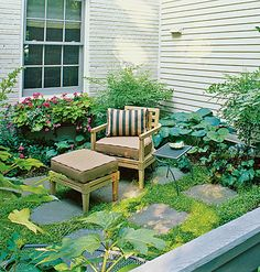 Shade Gardens  No sun? No problem! Incorporate these design tips for an in-the-shade sanctuary in your backyard.  Siding Success  The light-colored exterior of this house offsets an assortment of dark green shade plants in a way that makes this corner seating area look warm and inviting rather than cold and dreary. A coat of paint can brighten masonry and siding.