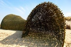 "Artist Marco Casagrande's installation 'Sandworm' is both architecture and environmental art. The 45 meters long and 10 meters high structure sits among the dunes of the Wenduine coastline in Belgium and is constructed entirely out of willow. Casagrande describes his work as ""weak architecture"" – a human made structure that wishes to become part of nature through flexibility and organic presence."