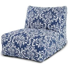 Navy Blue French Quarter Bean Bag Lounger Chair - Overstock™ Shopping - Great Deals on Majestic Home Goods Bean & Lounge Bags