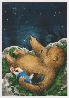 © Martina Hoffmann by Loreta Spiritual Animal, Love Bears All Things, Bear Girl, Children's Book Illustration, Cute Drawings, Fantasy Art, Poster, Stars, Night