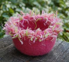squiggle felted wool bowl fizzy fuzzy pink by maddyandme on Etsy