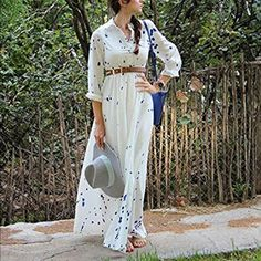 """Blue and white maxi dress Long sleeves and can roll up. Chest button, elastic band. S-bust: 33-35 inches, length: 56-57 inches. M-bust: 35-37 inches, length: 56-57 inches. Height: at least 5'5"""". 2-s, 2-m New without tag-2- Dresses Maxi"""