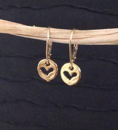 Heart earrings tiny heart lever back earrings by WendyShrayDesigns, $24.00