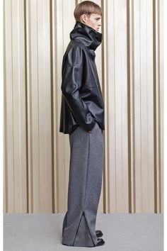 Acne Fall 2014. Love this oversized with zipper trousers and the oversized minimalistic leather jacket