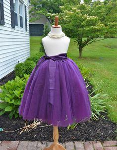 Flower girl Plum Purple Tutu with sash, Purple Long Tulle Skirt, Purple Tutu, Girls Purple Tutu, Purple wedding