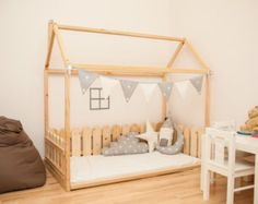 House shaped bed Montessori bed or toddler bed floor bed FULL QUEEN Krippe Größe Kinder Zimmer Bett & Zaun von SweetHOMEfromwood The post House shaped bed Montessori bed or toddler bed floor bed FULL QUEEN appeared first on Toddlers Diy. Wood Frame House, House Frame Bed, House Beds, Wooden House, Kids Room Bed, Kids Bedroom, Bedroom Bed, Child Room, Cama Murphy Ikea